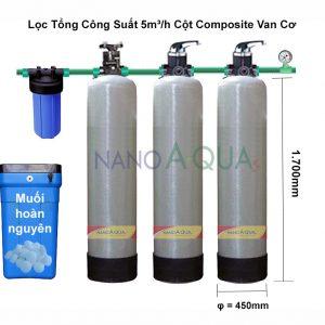 Hệ Thống Lọc Tổng 5m³/h Cột Composite Van Cơ