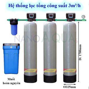 Lọc tổng công suất lọc 3m³ /h cột composite van tự động
