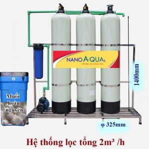 Hệ thống lọc tổng 2m³ /h cột composite van cơ