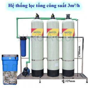 Hệ thống lọc tổng 3m³ /h cột composite van cơ