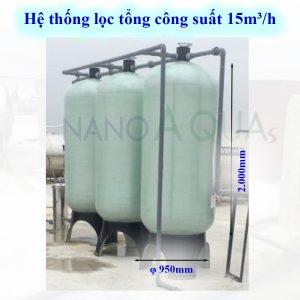Hệ thống lọc tổng 15m³ /h cột composite van cơ