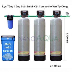Hệ thống lọc tổng công suất lọc 5m³/h cột composite van tự động