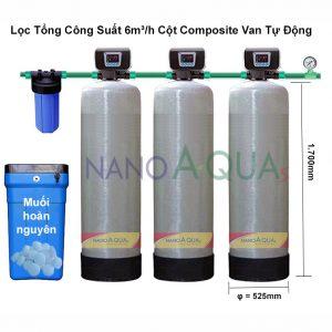 Lọc Tổng Công Suất Lọc 6m³/h Cột Composite Van Tự Động
