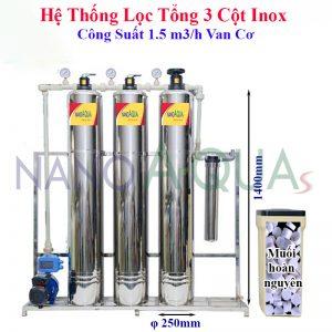 Hệ Thống Lọc Tổng 3 Cột Inox Công Suất 1.5 m3/h Van Cơ