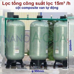 Lọc tổng công suất lọc 15m³ /h cột composite van tự động